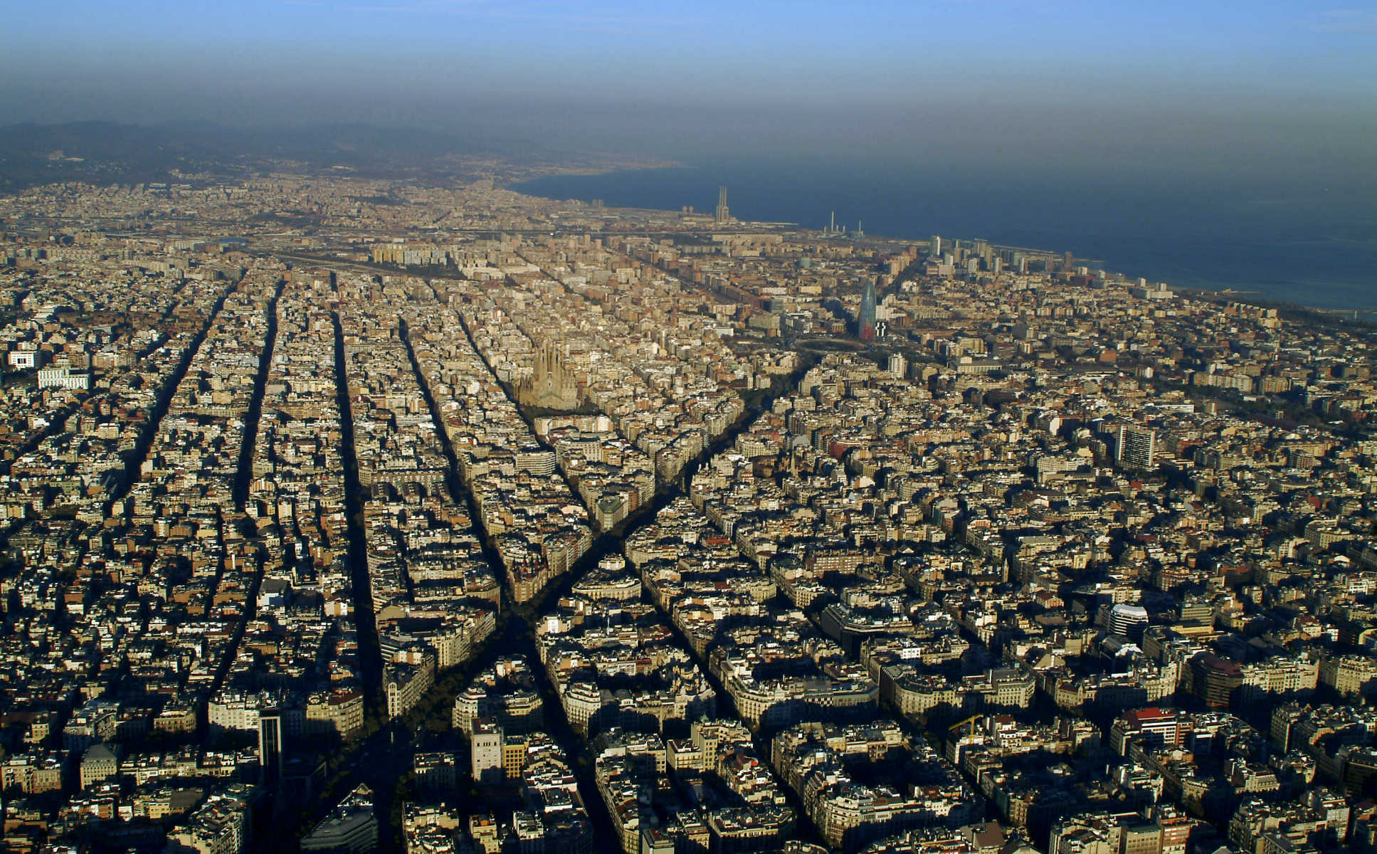 Avenida Diagonal,Barcelona, from the  sky