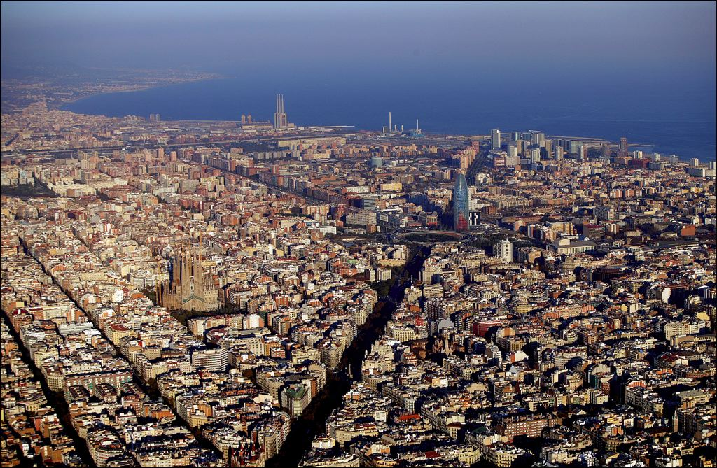 Avenida Diagonal,Barcelona, 22@ district  from the  sky