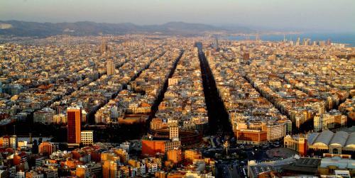 Gran Via , Barcelona from the  sky