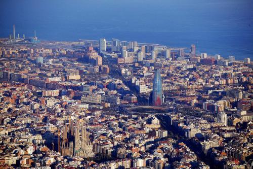Avenida Diagonal,Barcelona, from the  sky