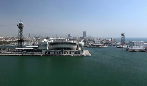 Barcelona World Trade Center and Seaport from the  sky