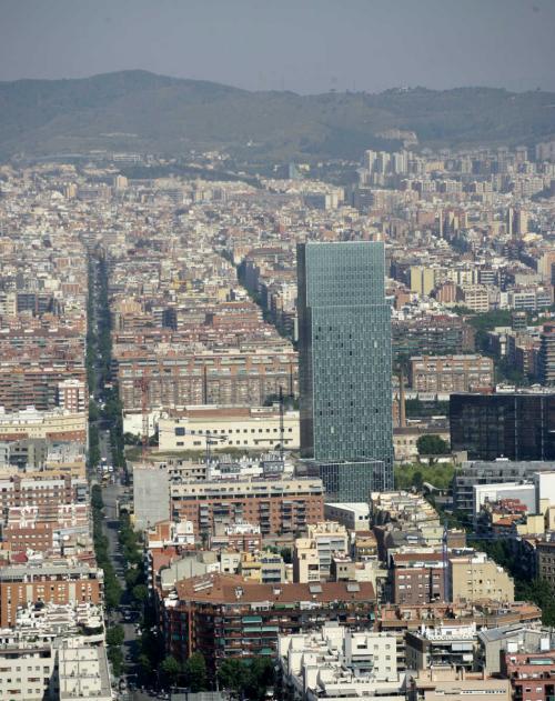 Meliá Barcelona Sky Hotel from the sky.