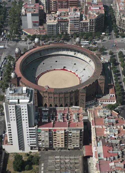 Plaza de toros Monumental,Bullring fron the sky