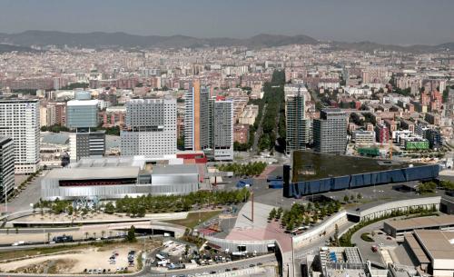 Princess Hotel, Hilton Hotel, Convention Center Barcelona,Forum building.Diagonal Avenue from the  sky